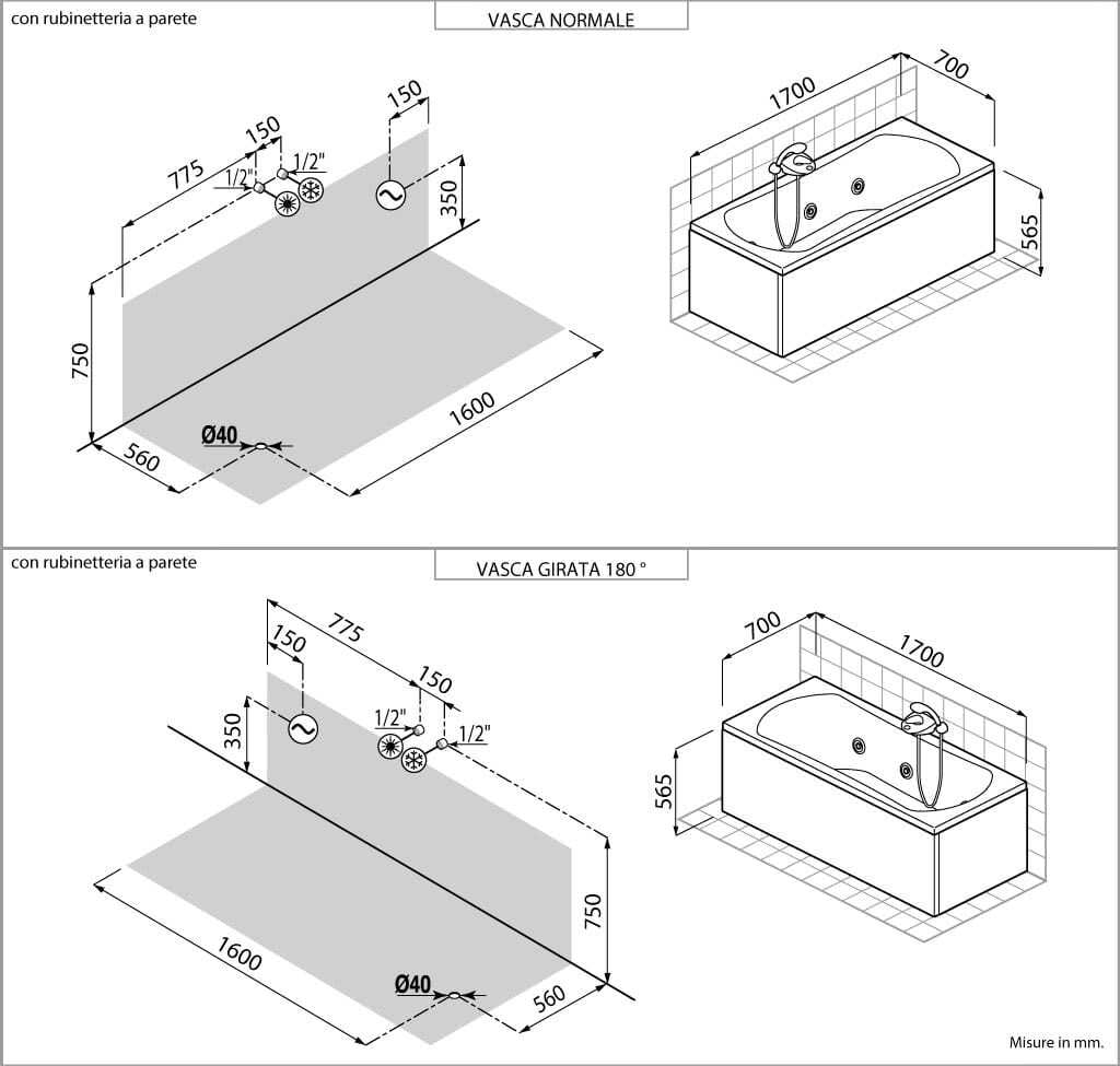 Vasca idromassaggio teuco l22 edil ceramiche palmi - Dimensioni vasca da bagno angolare ...